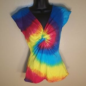 Womens Twisted Front Tie Dye Shirt Size Small